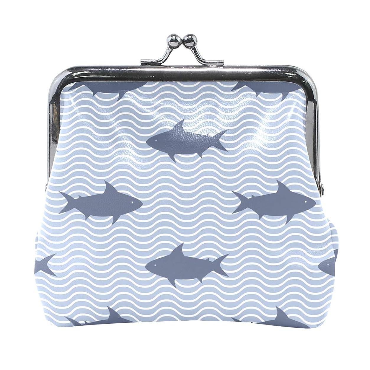 申請中アレキサンダーグラハムベル採用するがま口 財布 口金 小銭入れ ポーチ サメ 海 波紋 ANNSIN バッグ かわいい 高級レザー レディース プレゼント ほど良いサイズ
