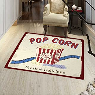 Movie Theater Area Rug Fresh Delicious Pop Corn Film Tickets Strip Advertising in s Theme Indoor/Outdoor Area Rug 2'x3' Multicolor