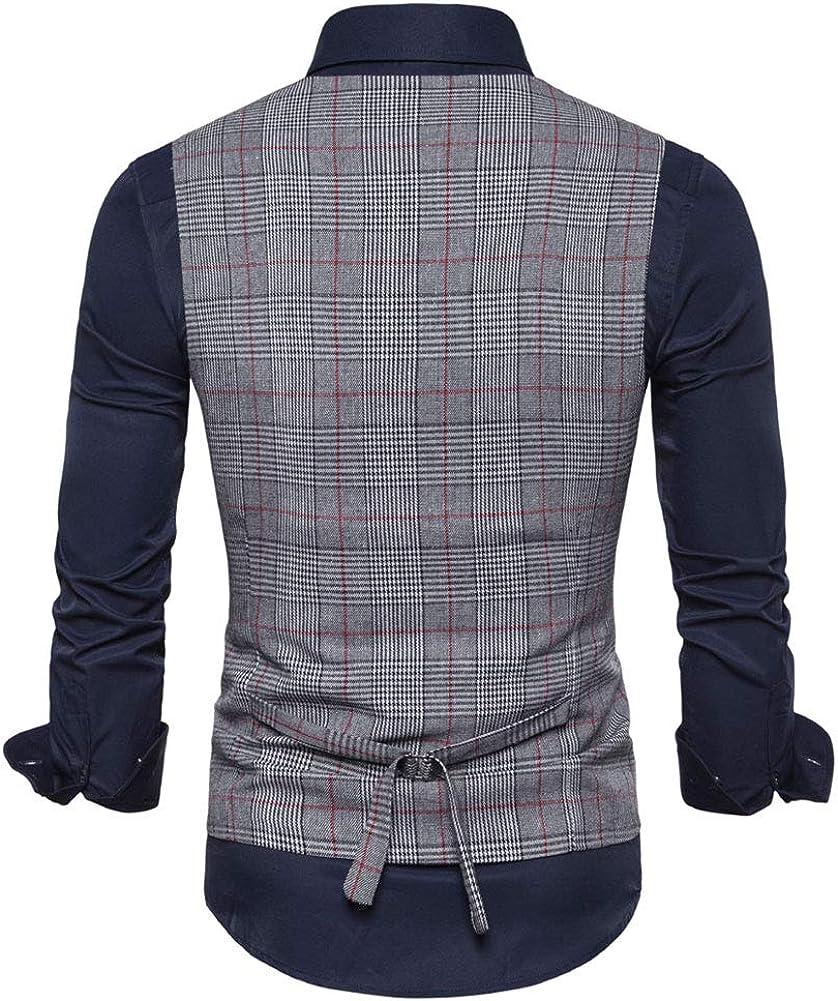 Gilet Homme Costume Confortable Slim Gilets Slim en Coton R/étro sans Manches Veste /à Carreaux