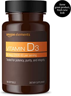 Amazon Elements Vitamin D3, 2000 IU, 180 Softgels, 6 month supply (Packaging may vary)
