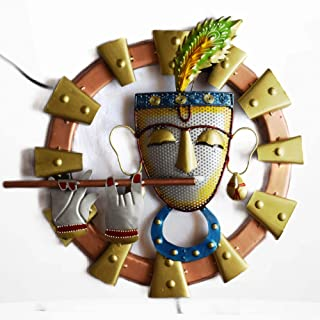 Wall hanging Metal Art Lord Krishna Playing Flute Decor home decorations items for living room wall mounted art showpiece ...