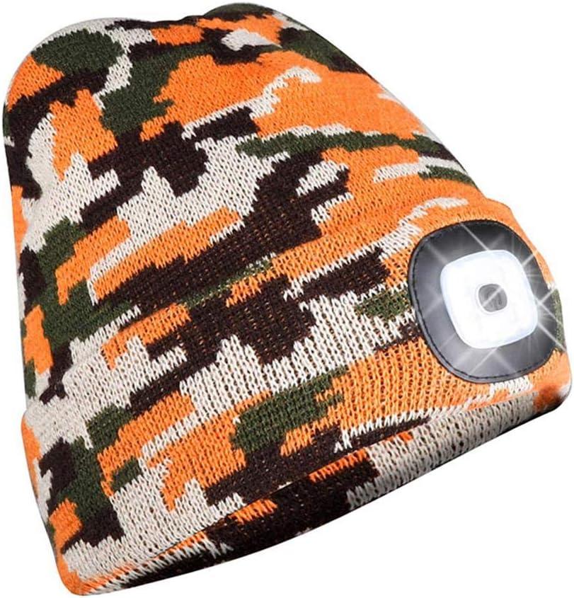 LED Beanie Knit Cap Light Ultra-brillante manos libres sombrero luz USB recargable faro invierno caliente al aire libre sombrero con linterna LED faro
