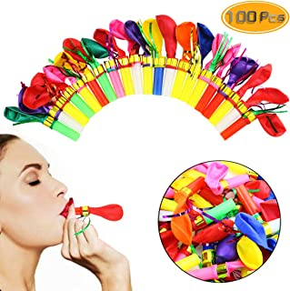 Neworkg 100pcs Multicolor Noisemakers Blowouts Party Horns with Balloons, Glitter Fringed Balloons Whistle, Party Whistles and Streamers, Bulk Toys, Birthday Party Favors, Party Accessory for Kids