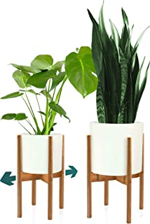 Fox & Fern Mid Century Plant Stand - Bamboo Adjustable Planter 8