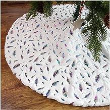 Grote kerstboomrok, pluche witte luxe imitatiebont boomrok met veren, super zachte, dikke boomrok voor thuis feest kerstbo...