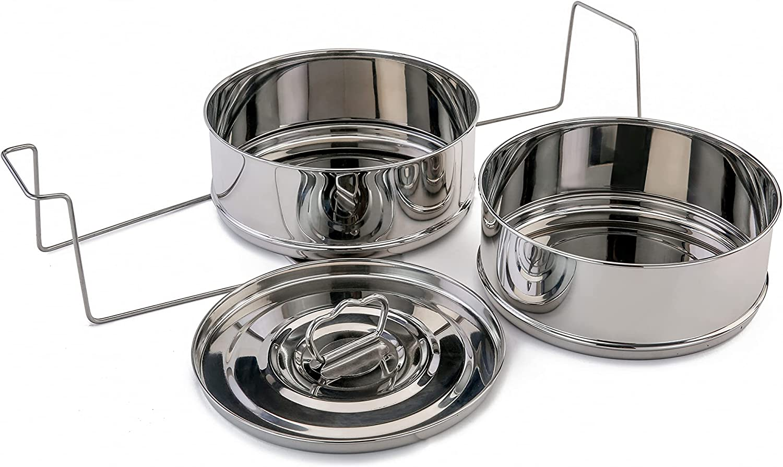Vinod Stackable Stainless Steel Insert Pans - Inserts for Instant Pot - Steamer Pot - Instant Pot - Pressure Cooker Accessories (3 Quart)
