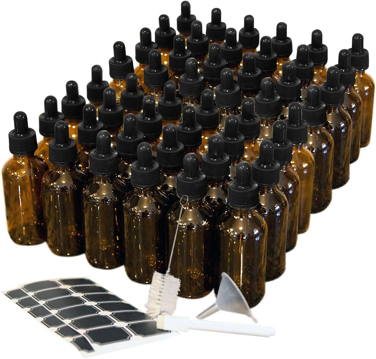 Mockins 48 pack Amber 2 Oz Glass Dropper Bottles   The Amber Glass Bottles Includes a Dropper & Funnel and Brush with Bonus Labels to Mark Each One
