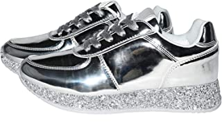 Women Fashion Metallic Sneaker Glitter Flatform Quilted Lace Up Casual Shoes