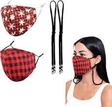 Wulcea 2 Packs 3D Face Mask wtih 2 Pcs Lanyard, Ergonomically Designed, Cotton Fabric with Nose Wire and Adjustable Earloop