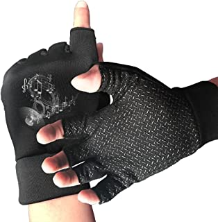 Address Verb Bicycle Cycling Half Finger Gloves Elk Deer Painting Unisex Anti-Slip Shock-Absorbing Foam Padded Gel Pad Gym Boxing Sports Gloves