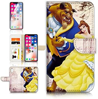 (for iPhone XS) Flip Wallet Case Cover & Screen Protector Bundle - A21020 Beauty and Beast