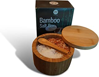 Salt Cellar with Lid and Spoon | Versatile Salt Container for Kitchen or Bath | Bamboo Box has Dual 5 Ounce Capacity