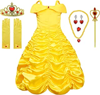 Little Girls Princess Dress Belle Costume Layered Off Shoulder Gown Party Dress