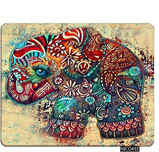 Nicokee Elephant Gaming Mousepad Elephant Ethnic Tribal Brown Boho Bohemian Celestial Mouse Pad Rectangle Mouse Mat for Computer Desk Laptop Office 9.5 X 7.9 Inch Non-Slip Rubber