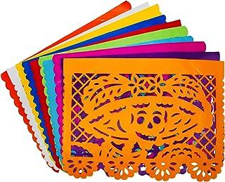 Ciento papel picado tradicional/Banner 1/2 - Kit 100 banderas - 10 colores - Papel china