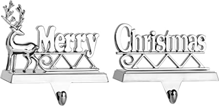 Klikel Silver Merry Christmas Stocking Hangers for Mantel - Set of 2 - Nickel Non-Tarnish Stocking Holders Christmas and M...