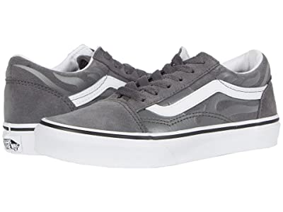 Vans Kids Old Skool (Little Kid) ((Suede Flame) Pewter/True White) Boys Shoes