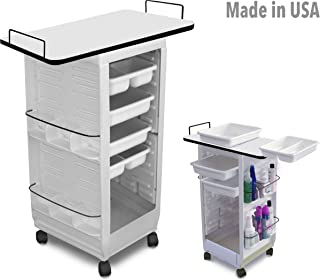 C113E-LT Prime Aesthetician Roll-About Roller Utility Cart Trolley Non Lockable White w/Laminated Top Made in USA by Dina Meri