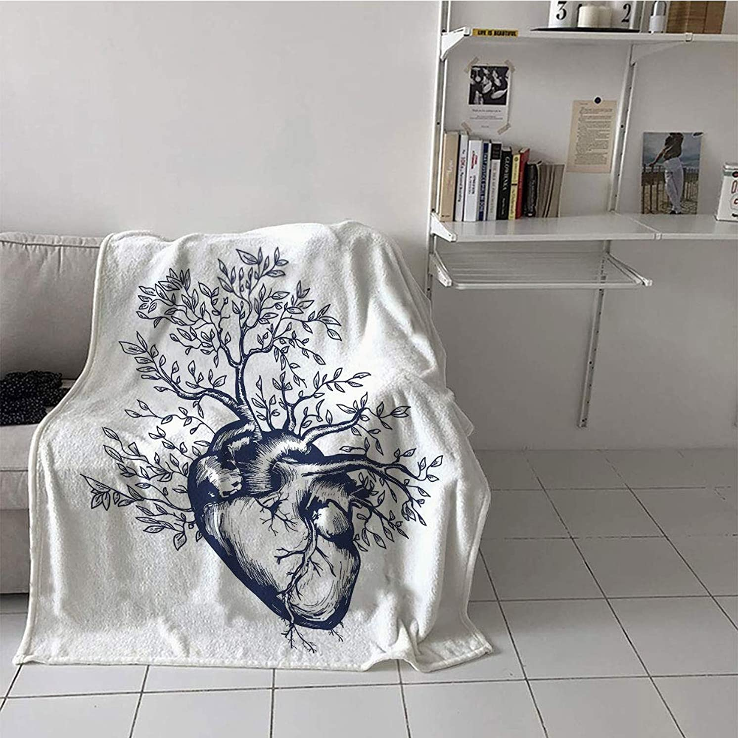 Khaki home Children's Blanket Casual Digital Printing Blanket (60 by 62 Inch,Surrealistic,Human Heart Blooming with Tree Leaves Anatomy of Life and Love Concept,Dark Blue Cream