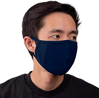 Aulin� Collection Made in USA Cotton Fabric Washable Reusable Filter Pocket Face Mask, Navy Blue 1 PK