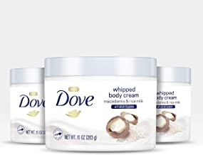 Dove Whipped Body Cream Dry Skin Moisturizer Macadamia and Rice Milk Nourishes Skin Deeply 10 oz 3 Count