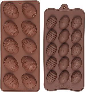 Diealles Shine 2 Unidades Pascua Moldes de Chocolate, Moldes de Silicona para Huevos de Pascua para Chocolate para Reposte...