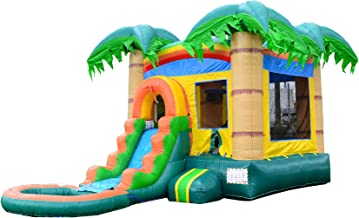 HeroKiddo Tropical Forest Bouncer with Slide and Basketball Hoop, 100% Commercial PVC Vinyl, 12 x 24 ft. (Blower & Pool Included)