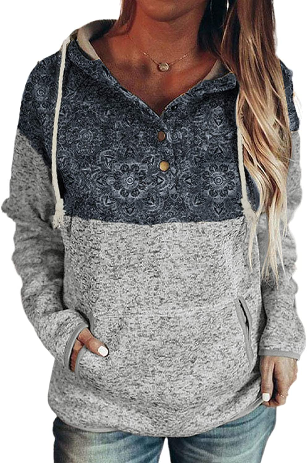 Chase Secret Womens Button Collar Sweatshirt Hoodies Color Block Long Sleeve Drawstring Pullover Tops with Pockets