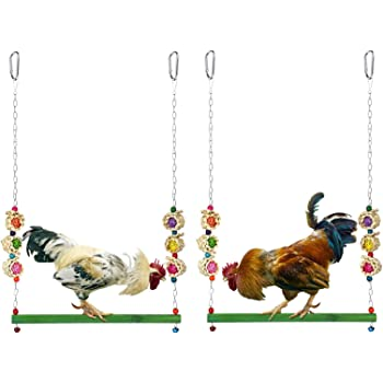 MEWTOGO 2 Pack Natural Wooden Chicken Swing Toys-Colorful Chicken Stand Toy Bird Swing Toy Chicken Coop Accessories for Chicken, Hens, Medium&Large Bird, Parrot Training