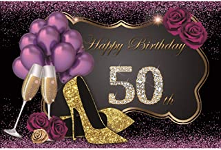 Yeele 10x8ft Happy 50th Birthday Backdrop Glistening Purple Background Champagne High-Heeled Shoes Purple Roses Balloons Party Decoration Lady Girl Portrait Photoshoot Photo Studio Backdrop