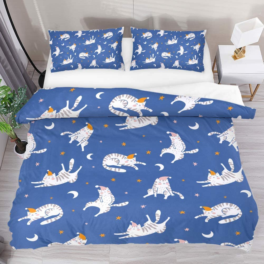 Aisso Printed Duvet Cover Set Funny Cat Kitten Star Moon Super Soft Comforter Set Microfiber 3 Piece Extra Long Twin Bedding Sets For Home Hotel Rv Decor Home Kitchen