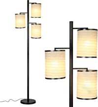 Brightech Liam - Asian Lantern Shade Tree LED Floor Lamp - Tall Free Standing Pole with 3 LED Light Bulbs - Contemporary Bright Reading Lamp for Living Room, Office - Black