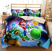 Parure de lit 3D avec Housse de Couette et taie d'oreiller Parure de lit avec Housse de Couette en Mario Taille (200x200 c...