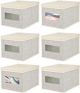 mDesign Elegancki organizer do szuflady – Materiałowe koszyki do przechowywania – Wielofunkcyjne pudełka do przechowywania...
