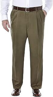 Haggar Men's Big-Tall Premium No Iron Classic Fit Expandable Waist Pleat Front Pant