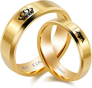 2pcs His Queen and Her King Couple Rings Titanium Stainless Steel Promise Rings Matching Set Wedding Engagement Band Valentine's Day Couples Gifts (Black, Gold) SN140