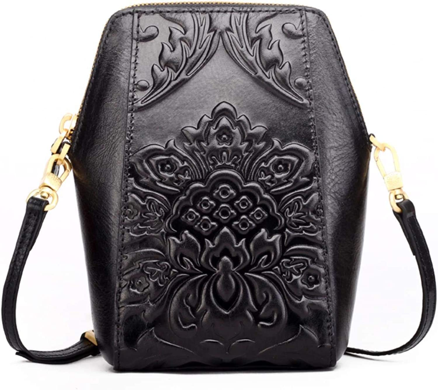 Top Quality Women Crossbody Messenger Flower Embossed Mobile handbags