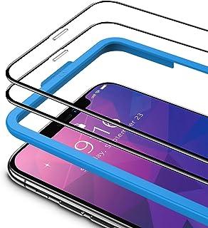TAMOWA (2-pack skärmskydd för iPhone 11/iPhone XR (6,1 tum), 3D helskärm härdat glasskydd 9H okrossbar film med installati...