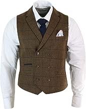 Cavani Mens Double Breasted Herringbone Tweed Peaky Blinders Vintage Check Waistcoat Navy-Blue 36