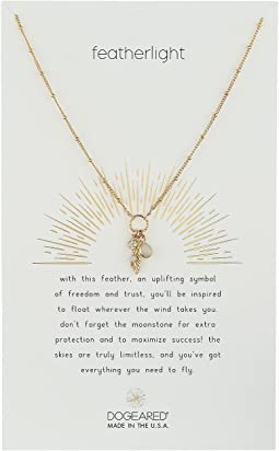 Dogeared - Featherlight, Feather and Moonstone Bezel Cluster Necklace