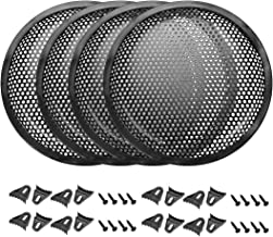 uxcell 4pcs 6.5 inches Speaker Waffle Grill Metal Mesh Audio Subwoofer Guard Protector Cover with Clips,Screws