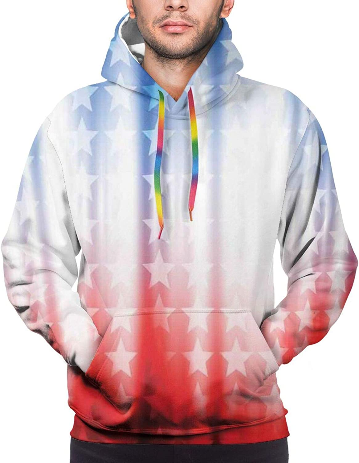 TENJONE Men's Hoodies Sweatshirts,Abstract Background with Colorful Letters Artistic Happy Ceremony