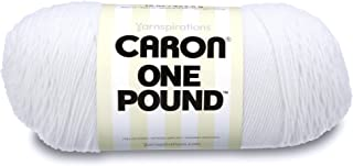 Caron  One Pound Solids Yarn - (4) Medium Gauge 100% Acrylic - 16 oz -  White -   For Crochet, Knitting & Crafting