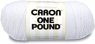 Caron One Pound Solids Yarn - (4) Medium Gauge 100% Acrylic - 16 oz - White - For Crochet, Knitting & Crafting
