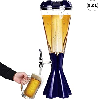 REAWOW Dispensador de bebidas del dispensador de torre de cerveza con tubo de hielo y luces LED Etiqueta de barril para fiesta de cocina - 3 litros