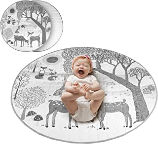 Yuehuam 33.5 inch Baby Round Rug Cotton Forest Animal Crawling Mat Area Rugs for Nursery Kids Soft and Washable Play Floor...