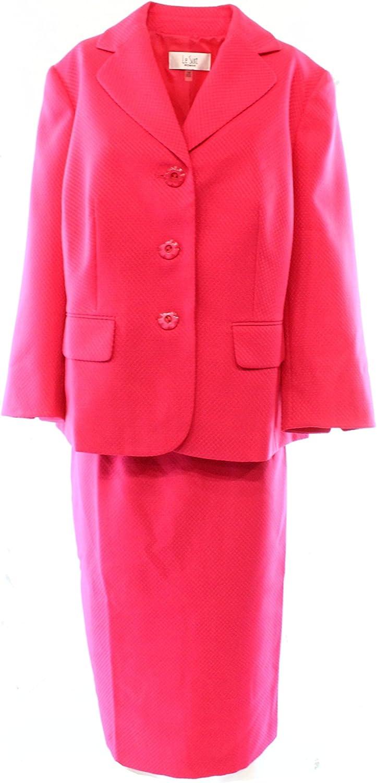 Le Suit Womens Plus The Hamptons Textured 2PC Skirt Suit Pink