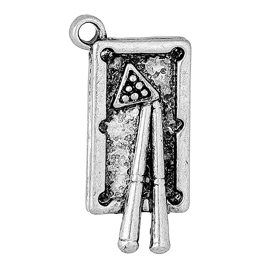 PEPPERLONELY 10pc Antiqued Silver Alloy Billiard Table Charms Pendants 24x12mm (1