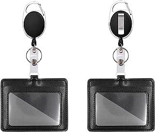 Mczcent 2 Porte Badge avec Yoyo et Cordon a Deux Façons de Porter, Horizontal ID Card Badge Holder Porte-badge D'identific...