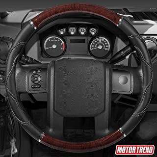 """BDK SW-352-DW Dark Wood/Black 18"""" Big Rig Truck Steering Wheel Cover (XL)"""